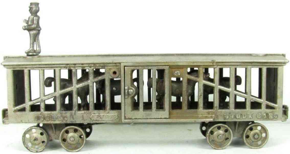 ideal 1906 a spielzeug eisenbahn bodenlaeufer viehwagen gusseisen vernickelt