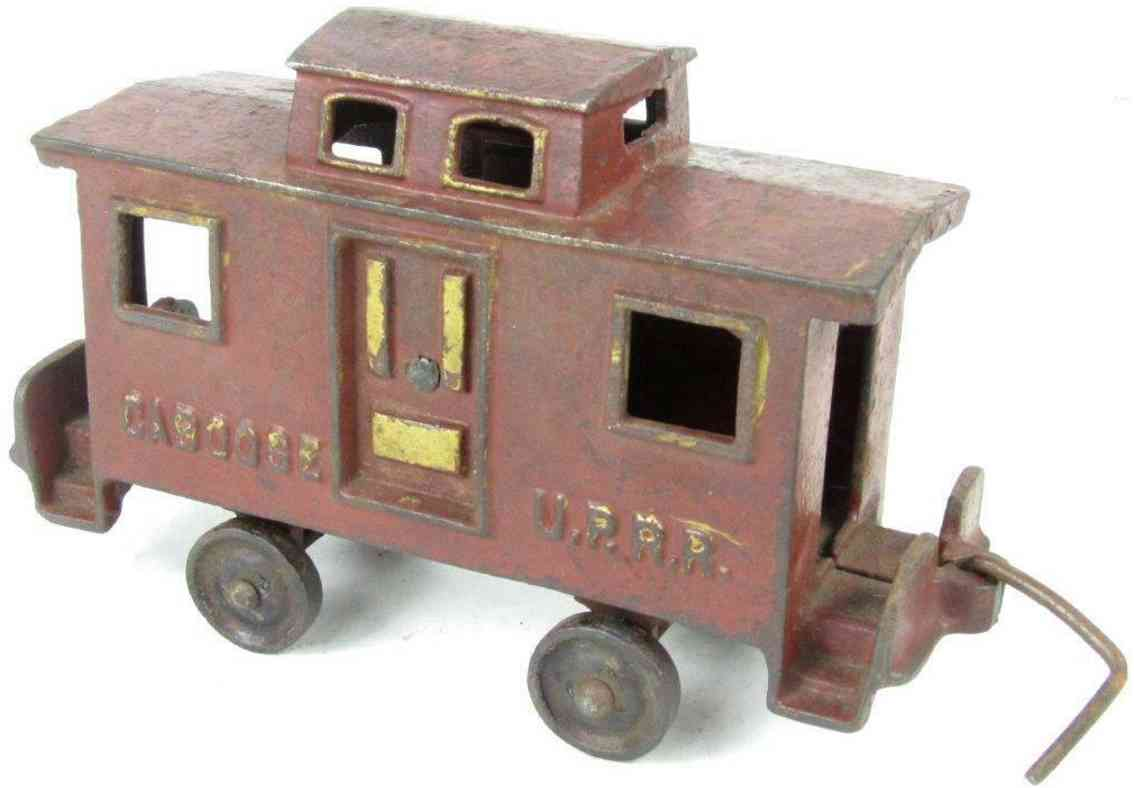 ideal railway toy floor train caboose cast iron in red