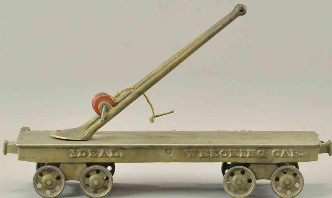 ideal gusseisen eisenbahn bodenlaeufer flachwagen mit abschleppkran