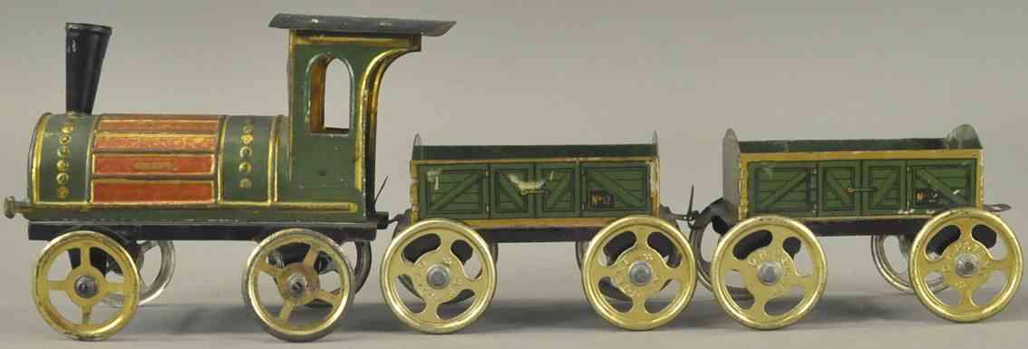 issmayer spielzeug eisenbahn bodenlaeufer lokomotive zwei offene gueterwagen