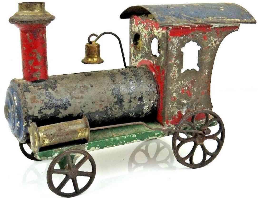 ives spielzeug eisenbahn bodenlaeufer lokomotive blech gusseisen rot gruen blau