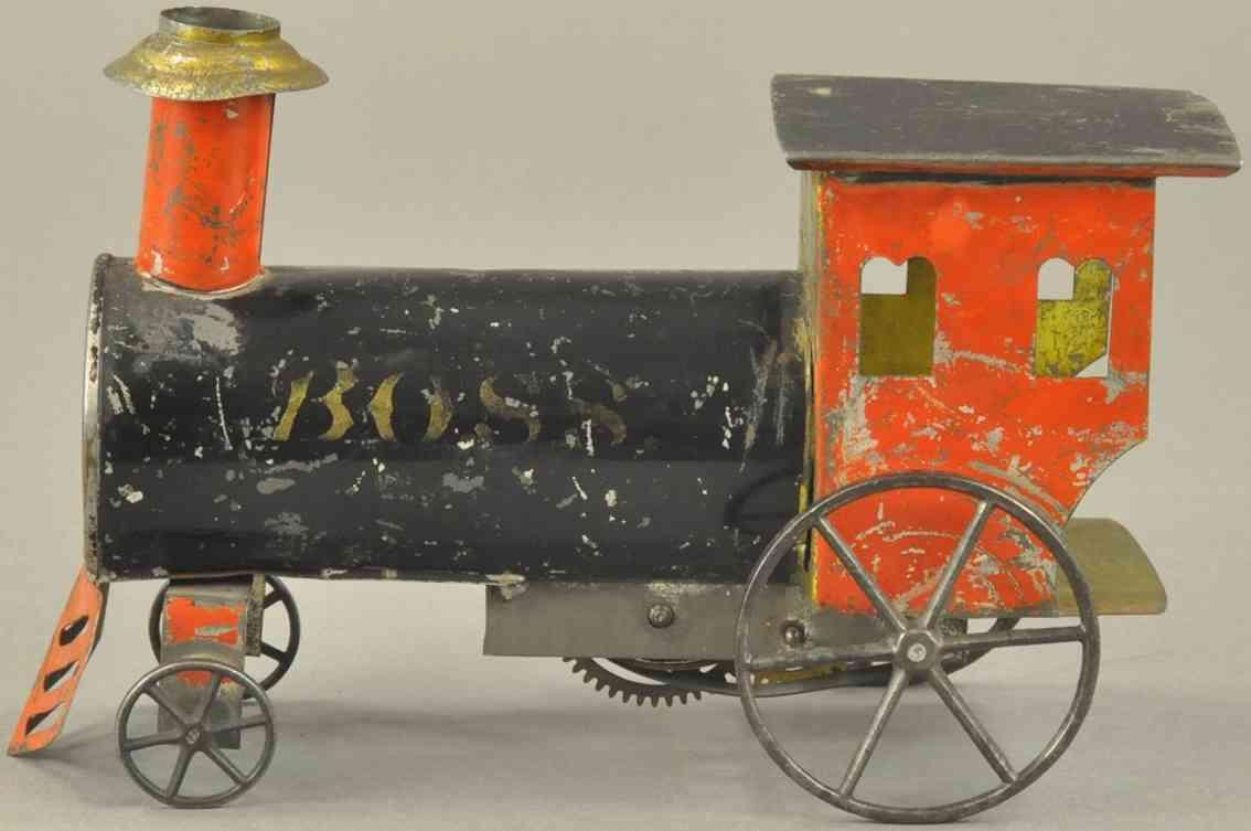 ives boss spielzeug eisenbahn bodenlaeufer amerikanische uhrwerklokomotive rot schwarz