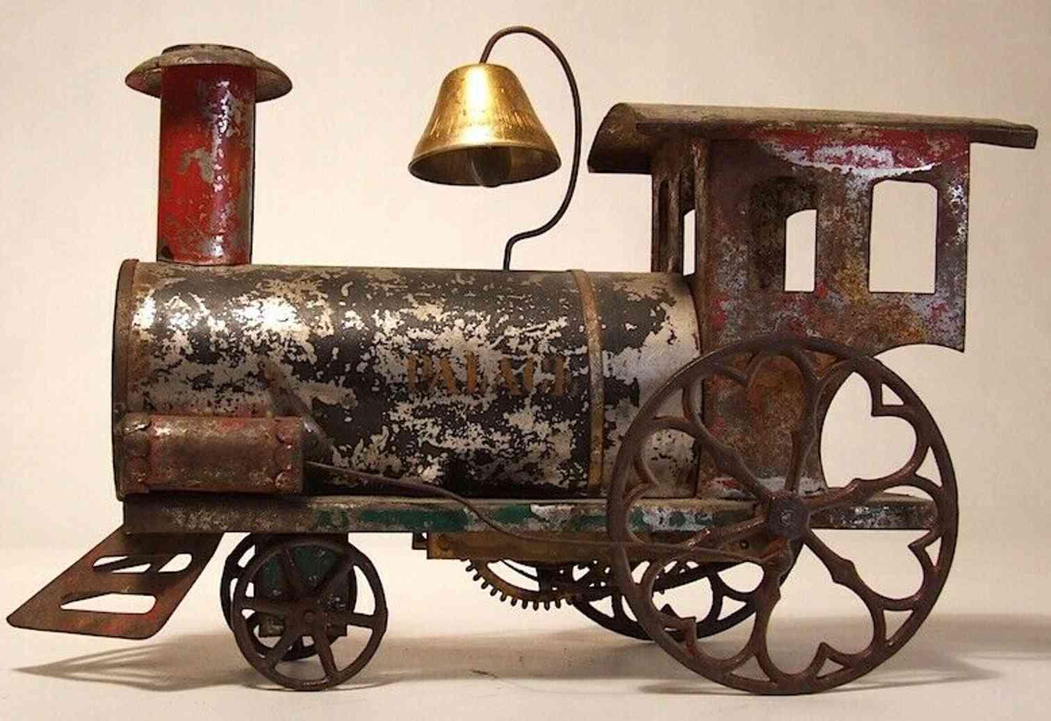ives spielzeug eisenbahn bodenlaeufer palace uhrwerk-lokomotive rot gruen schwarz