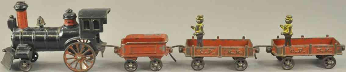 ives cppr spielzeug eisenbahn bodenlaeufer zug lok schwarz tender zwei wagen rot