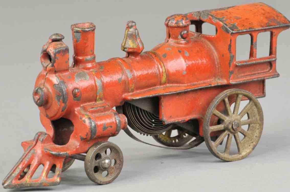 ives eisenbahn bodenlaeufer uhrwerklokomotive gusseisen orange