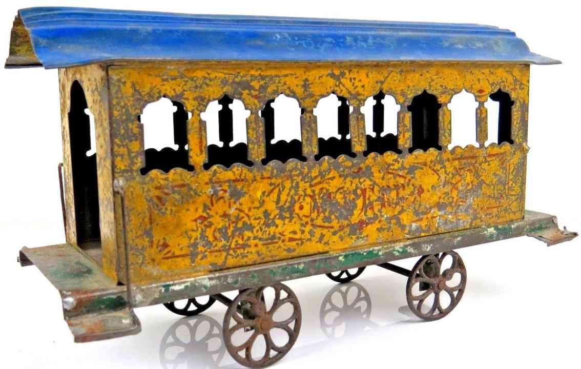 ives spielzeug eisenbahn bodenlaeufer personenwagen gelb blau