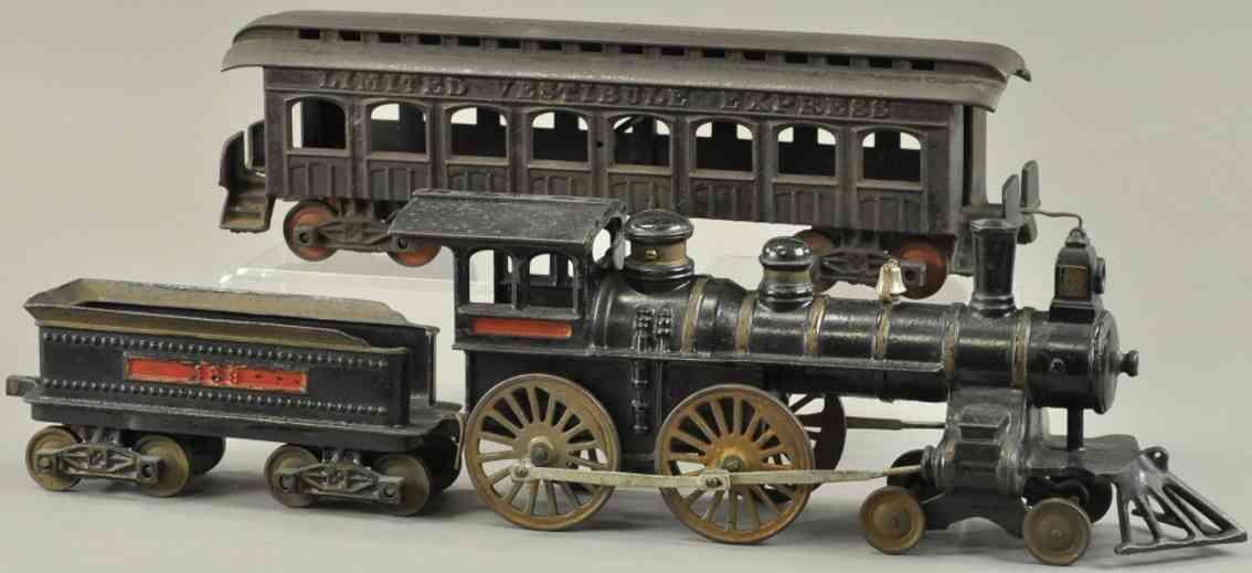 ives lok tender wagen spielzeug eisenbahn bodenlaeufer personenzug gusseisen