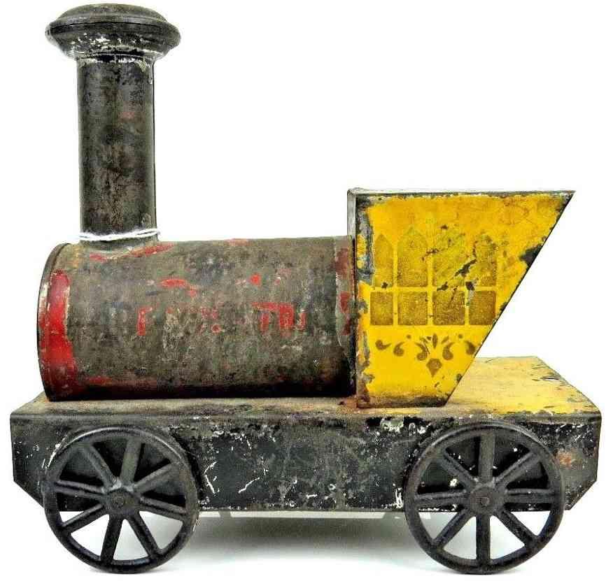 merriam spielzeug eisenbahn bodenlaeufer lokomotive blech rot gelb