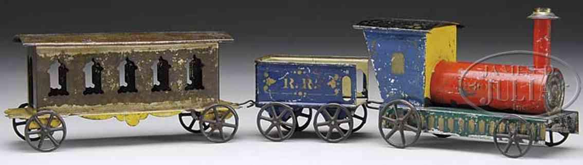 merriam spielzeug eisenbahn bodenlaeufer blechzug handbemalt bestehend aus lokmotive, kohlewagen und