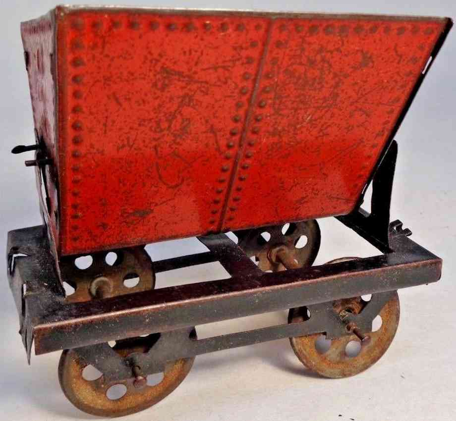 charles rossignol 601 railway toy floor train tilt-dump tipple car red