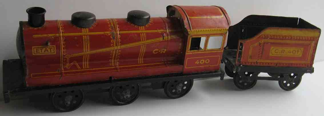 charles rossignol CR-400 railway toy floor train locomotive (36cm) with tender (18 cm), lithographed in red a