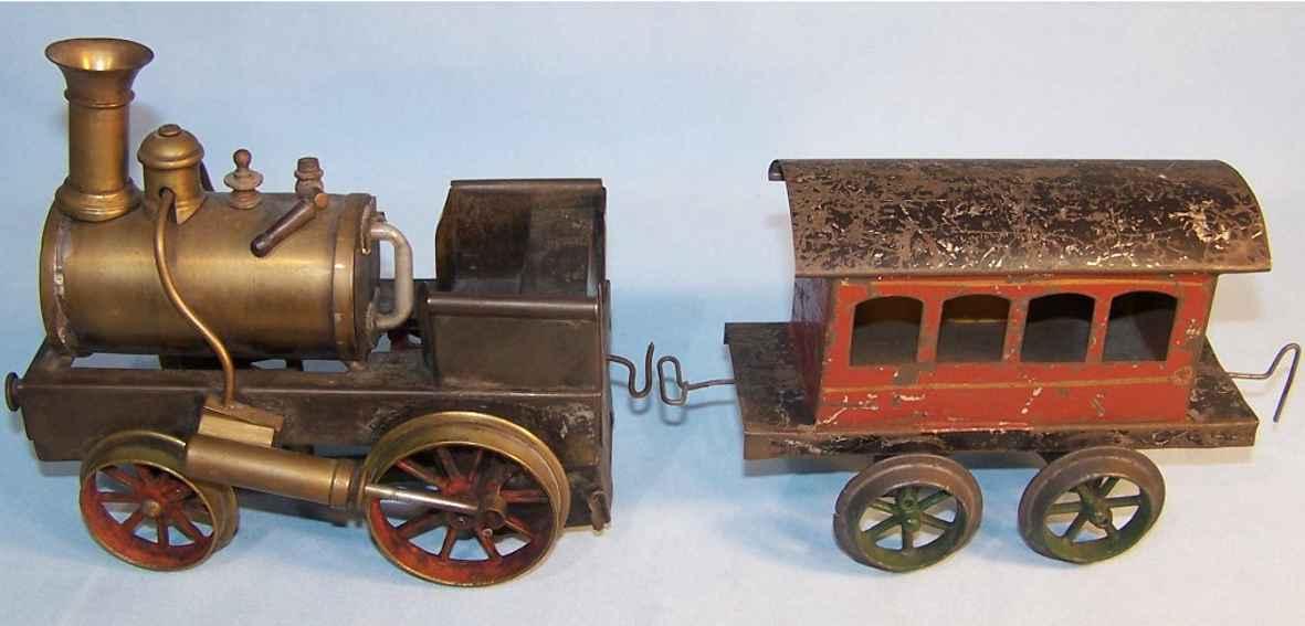 schoenner jean spielzeug eisenbahn bodenlaeufer storchenbein-lokomotive mit wagen, spiritus-antrieb, rot und