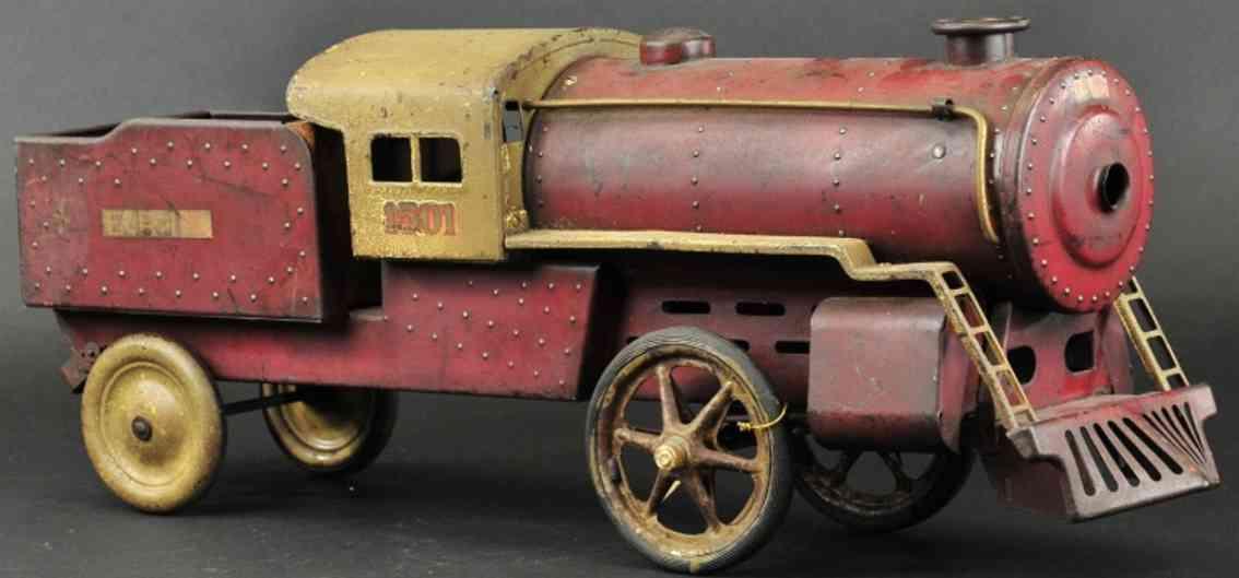 steelcraft 1501 spielzeug eisenbahn bodenlaeufer erie lokomotive tender stahlblech braun