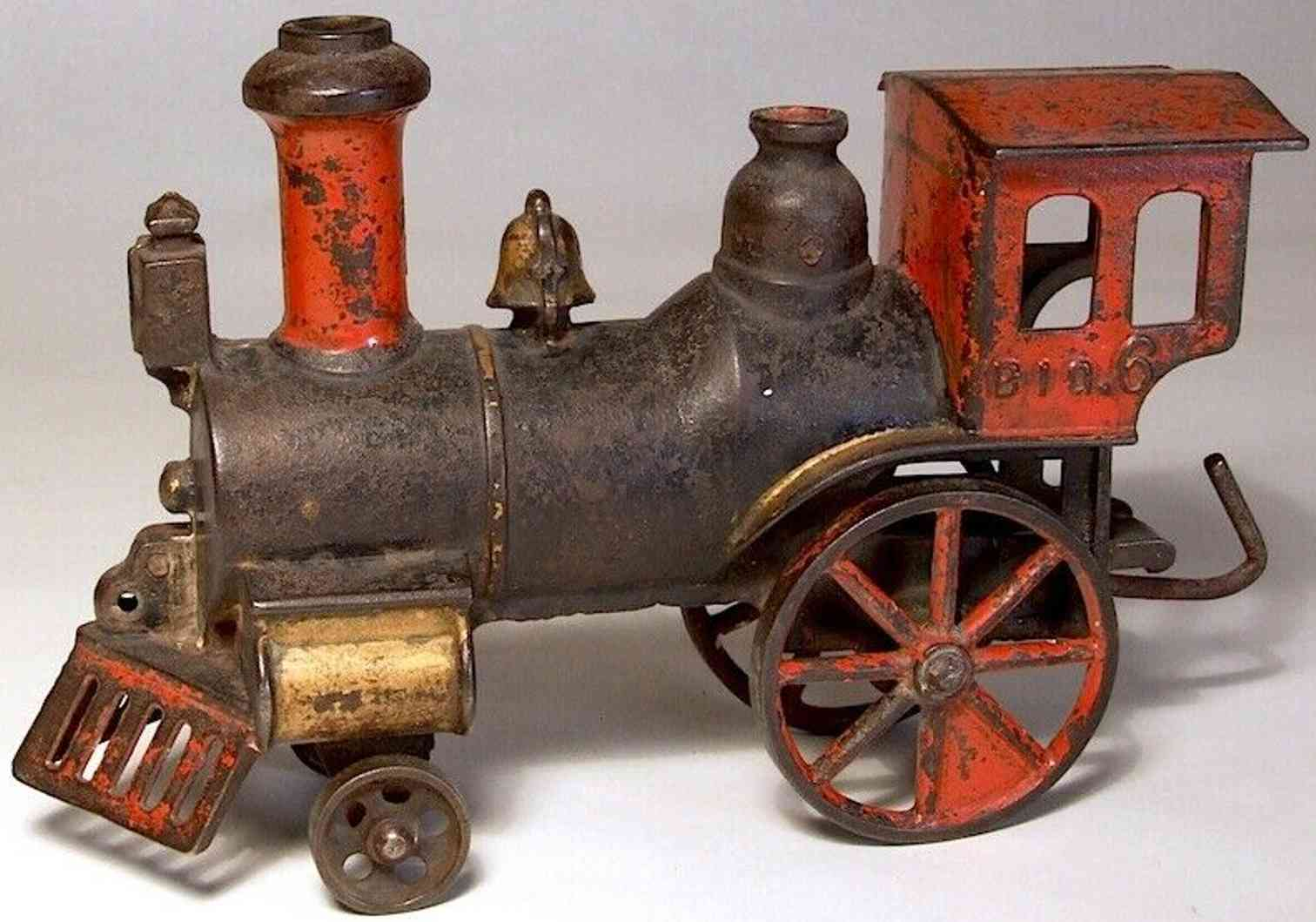 stevens co j & e railway toy cast iron floor locomotive named  big 6