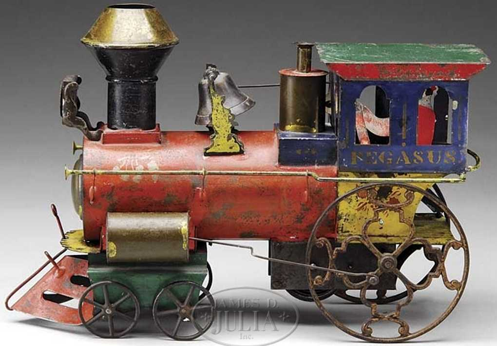stevens & brown spielzeug eisenbahn bodenlaeufer pegasus lokomotive uhrwerk