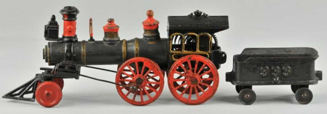welker & crosby ca. 1888 railway toy floor train clockwork locomotive of  cast iron and wood example, pilot c