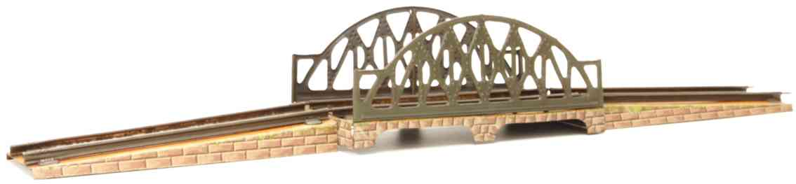 bing 10/611/1 railway toy lattice bridge round arch brick base gauge 0