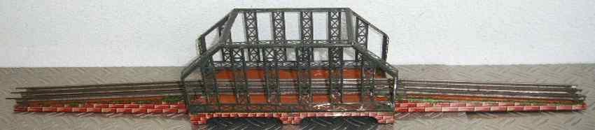 bing 12/560/0 spielzeug eisenbahn bruecke gitterbrücke mit abgeschrägte gitterbögen, grau, mauersteins