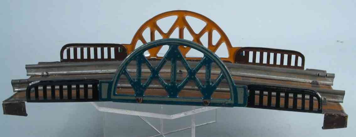 fischer heinrich railway toy bridge arch bridge for clockwork and steam railroad in light brown,