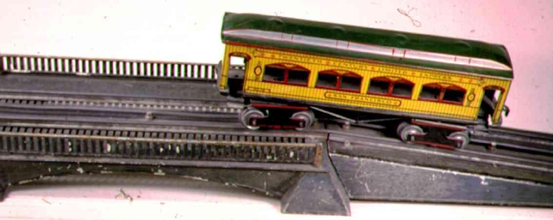 ives 101-1-3 (1910) spielzeug eisenbahn bruecke brücke mit elektrischen schienen von denen die mittlere abge