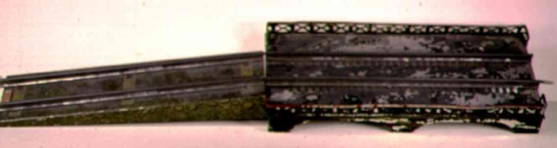 ives 101 (1908) spielzeug eisenbahn bruecke brücke mit grüner felsenlithografie und bemalter brückenober