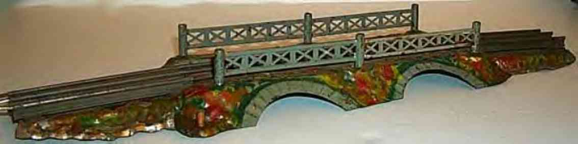 ives 92-3 railway toy rustic bridge with electrical rails and semaphone