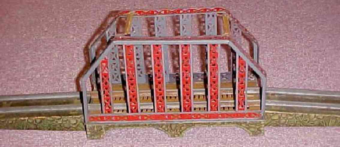 ives 98 (1910) railway toy bridge bridge with painted girders and the ramps have a sort of jun