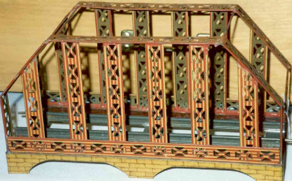 ives 98 (1904) railway toy bridge bridge with butterscotch amd red litho on the girders  and a