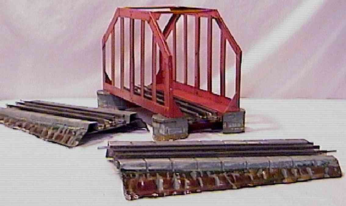 ives 98-3 (1923) railway toy bridge bridge for electric track painted in red and has a simulated