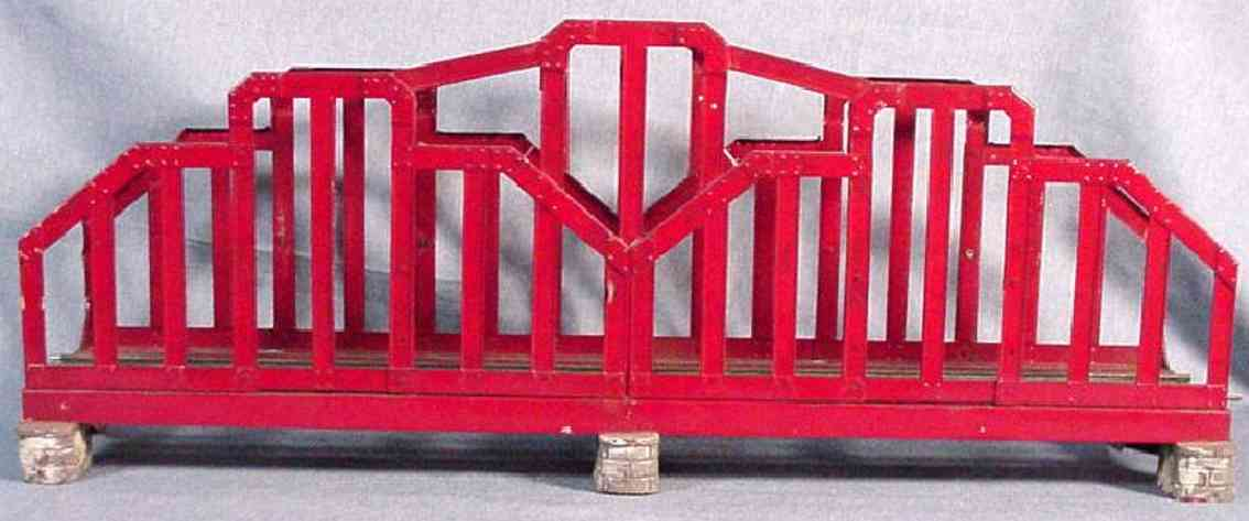ives 99-2-3 (1923) railway toy bridge wide gauge bridge, painted in red with simulated concrete br