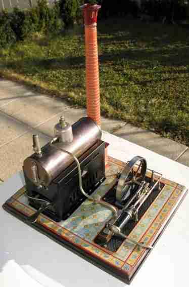 bing 130/234 oder 235 dampfspielzeug liegende dampfmaschine liegende dampfmaschine; stahlblau patinierter messingkessel;