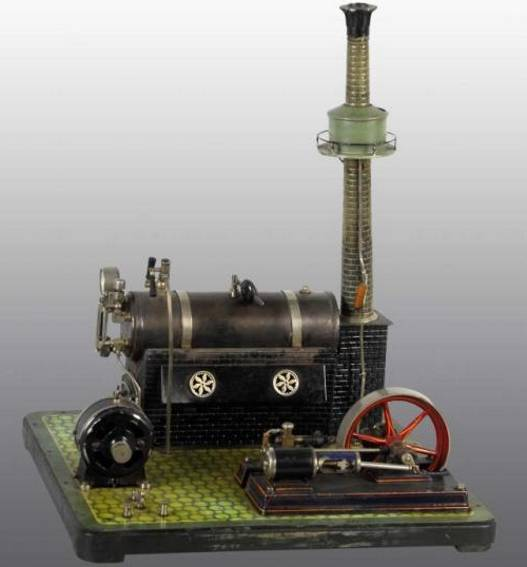 bing 130/391 (10/110) dampfspielzeug liegende dampfmaschine dampfmaschine mit kamin montiert auf einer speisewasservorhe