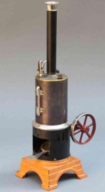 bing 130/43 dampfspielzeug stehende dampfmaschine stehende dampfmaschine, rechaud auf lackiertem eisenguß-maue