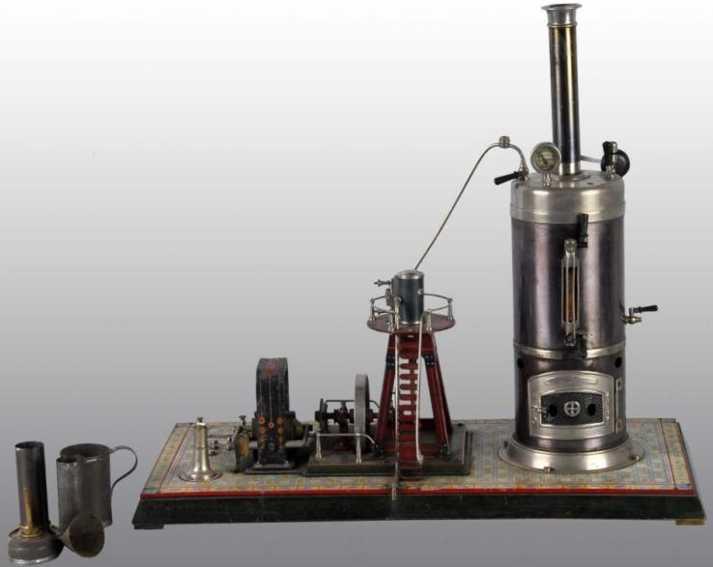 bing 130/523 dampfspielzeug stehende dampfmaschine senktrechter kessel mit einem schiffsmotor der einen dynamo