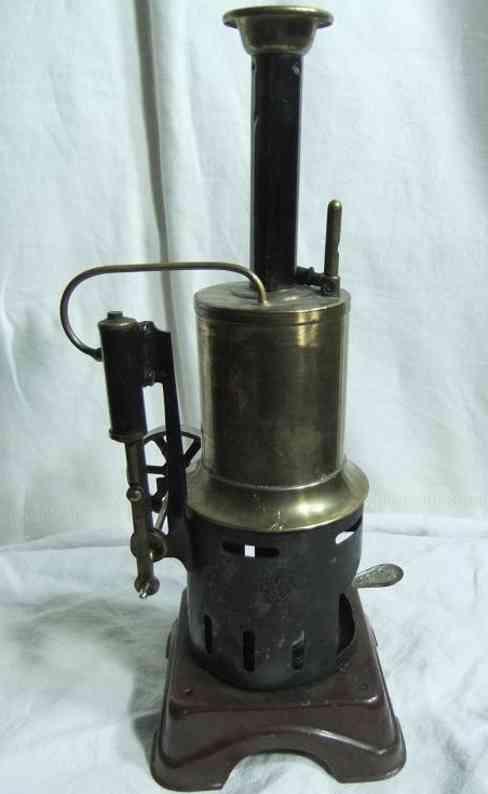 bing 130/861 dampfspielzeug stehende dampfmaschine dampfmaschine, sockel handlackiert, brennkammer aus blech sc