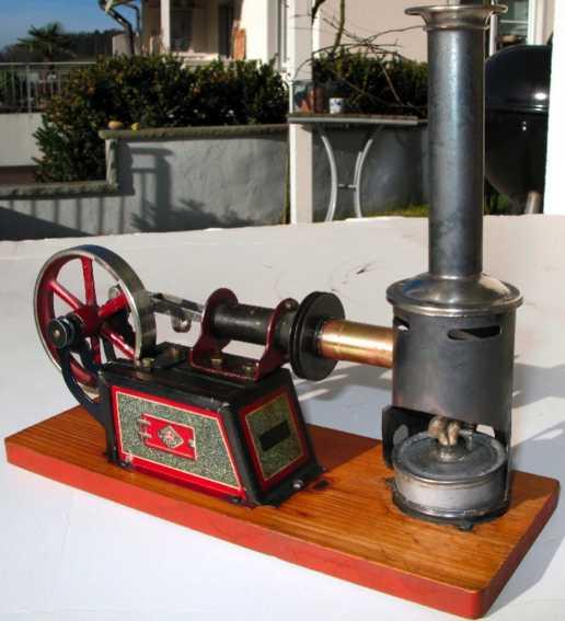 bing 135/11 dampfspielzeug liegender heissluftmotor