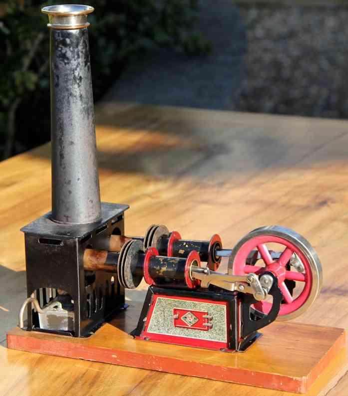 bing 135 dampfspielzeug liegende heissluftmotoren liegender heissluftmotor, zweizylinder luftgekühlt; ineinand