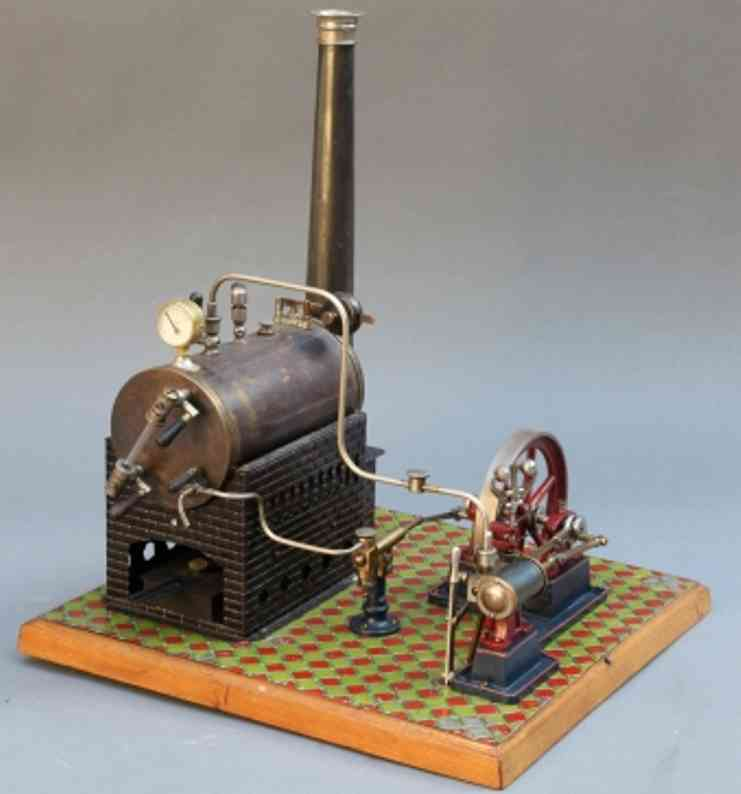 bing 9641/5 horizontal steam toy lying steam engine with boiler feed pump on wood foundation