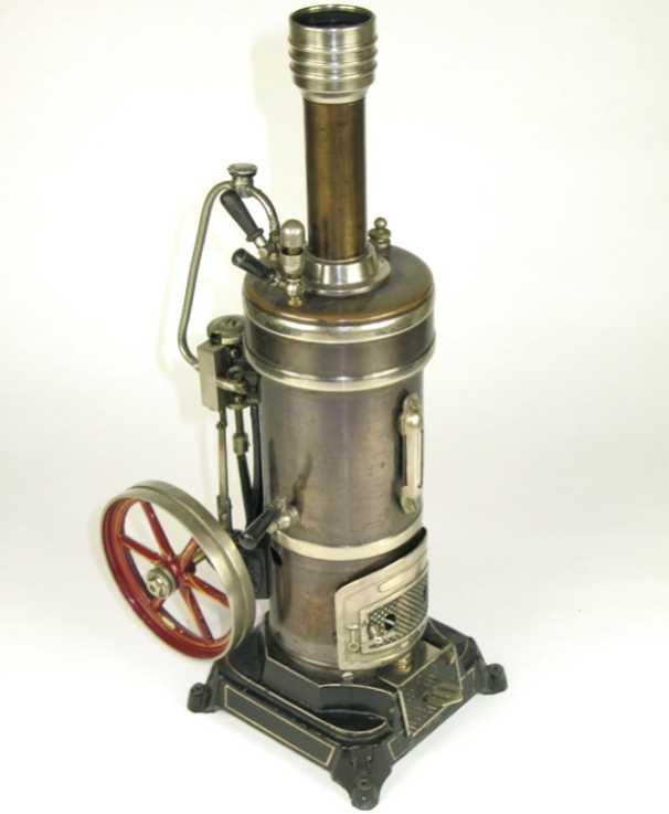 bing dampfspielzeug stehende dampfmaschine stehende dampfmaschine mit stahlblau patiniertem messingkess