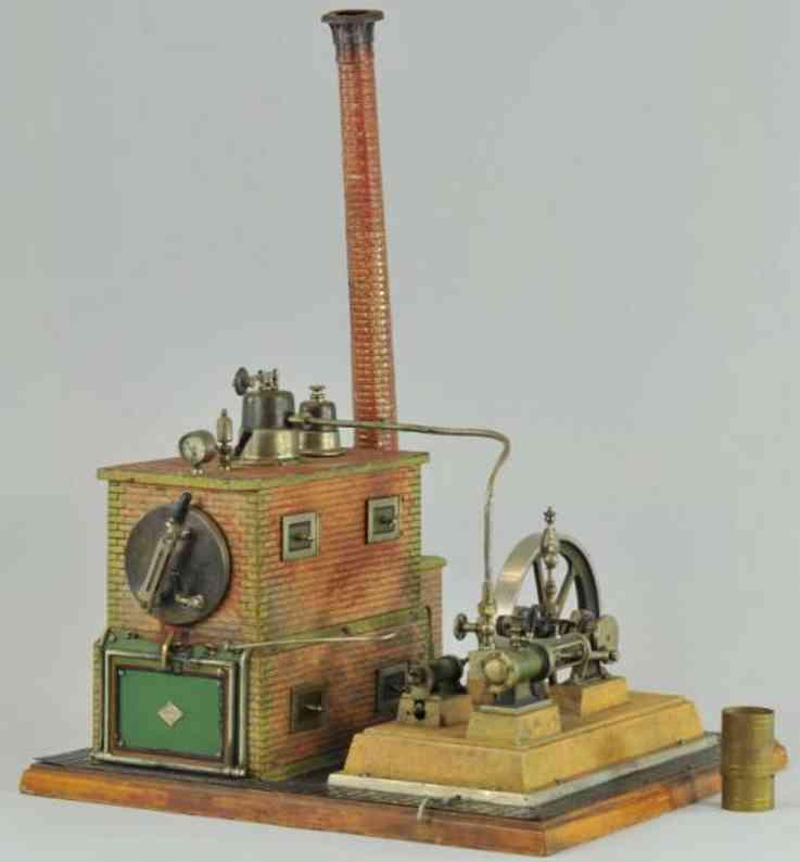bing dampfspielzeug liegende dampfmaschine dampfmaschine geprägtes blech, simuliertes backsteinmauerwer