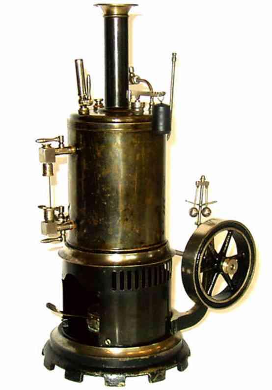 carette dampfspielzeug stehende dampfmaschine stehende dampfmaschine. maschinenteil und sockel sind aus ma