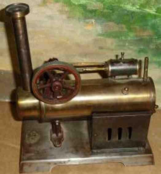 falk dampfspielzeug liegende dampfmaschine stationäre lokomobile mit bronzekessel kd5,5, 1 guß schwungr