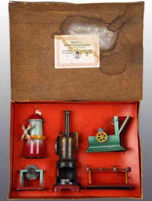 Falk J. Stehende Dampfmaschine mit vier Antriebsmodellen