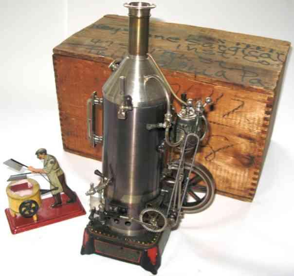 falk dampfspielzeug stehende dampfmaschine stehende dampfmaschine stahlblau oxidierter kessel, feststeh