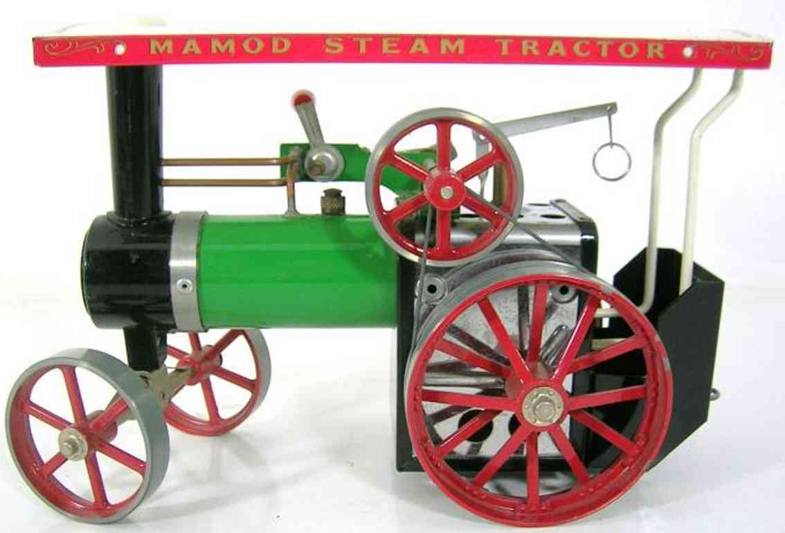 mamod steam roller toy tractor with oscillating cylinder, whistle and water level i
