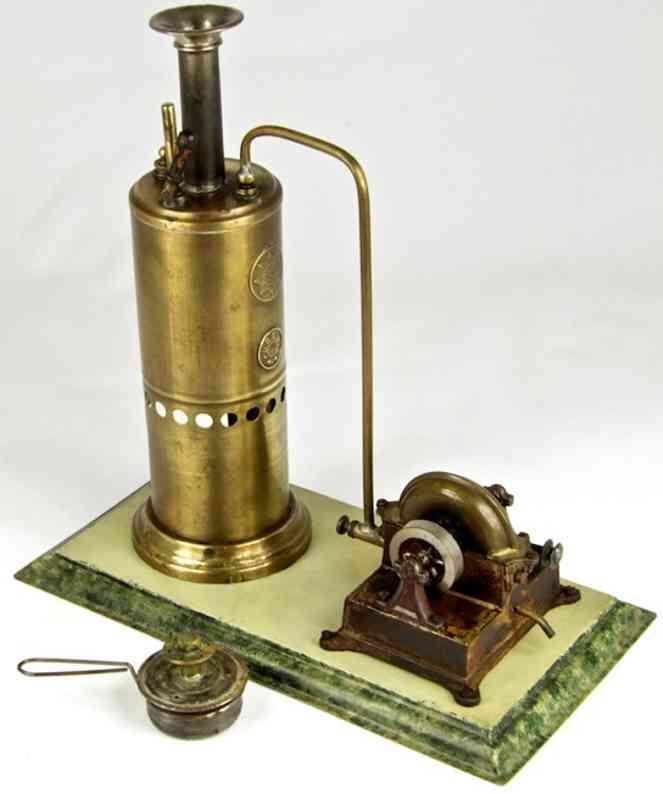 neumeyer fritz dampfspielzeug stehende dampfmaschine stehende dampfmaschine mit dampfturbine auf gusssockel. klei
