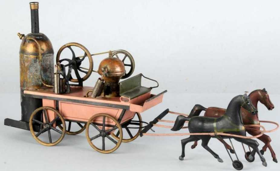 plank ernst 123 steam toy vehicle steam driven fire pumper with tow horses