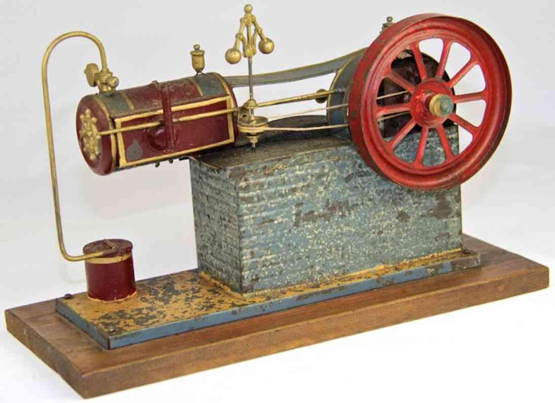 plank ernst dampfspielzeug liegende dampfmaschine modell einer dampfanlage mit schwungrad und zylinder. antrie