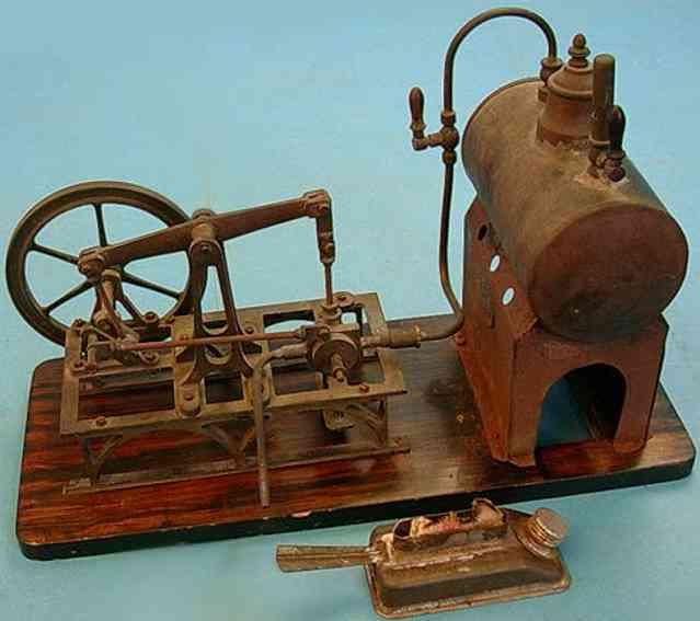 plank ernst dampfspielzeug liegende dampfmaschine balancier-dampfmaschine auf holzplatte aus pappel in palisan