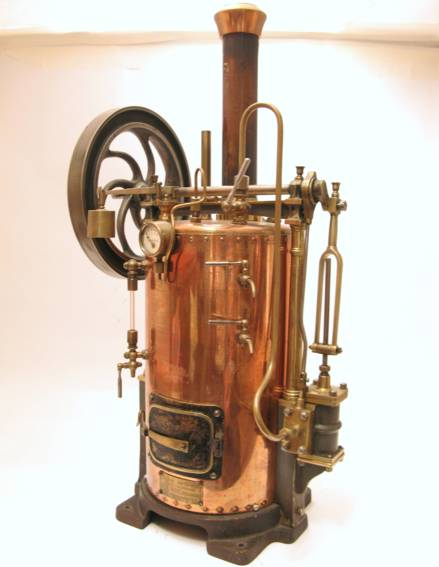 radiguet & massiot steam toy stationary lokomobile steam engine standing with copper kettle, brass mountings an